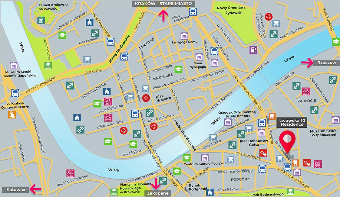 Mapa inwestycji Lwowska 10 Residence